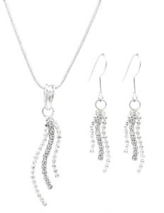 Simple Bridal Diamante Drop Earrings & Necklace Set  - Party Set